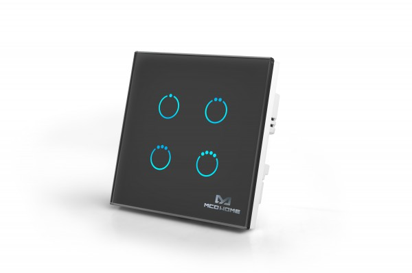 MCO Home Glass Touch Switch Black Edition (4 Buttons), British Standard
